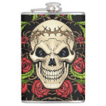 Skull and Roses with Crown Of Thorns by Al Rio Hip Flasks
