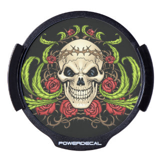 Skull and Roses with Crown Of Thorns by Al Rio LED Car Decal