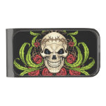 Skull and Roses with Crown Of Thorns by Al Rio Gunmetal Finish Money Clip