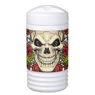 Skull and Roses with Crown Of Thorns by Al Rio Igloo Beverage Dispenser