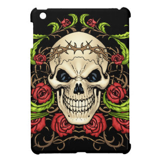 Skull and Roses with Crown Of Thorns by Al Rio iPad Mini Cover