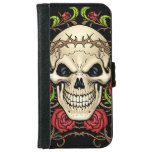Skull and Roses with Crown Of Thorns by Al Rio iPhone 6 Wallet Case