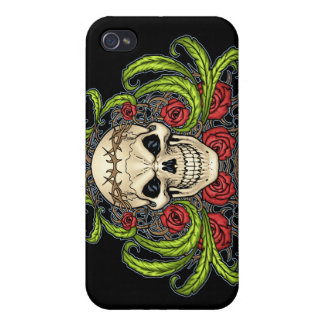 Skull and Roses with Crown Of Thorns by Al Rio Covers For iPhone 4