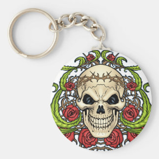 Skull and Roses with Crown Of Thorns by Al Rio Keychains