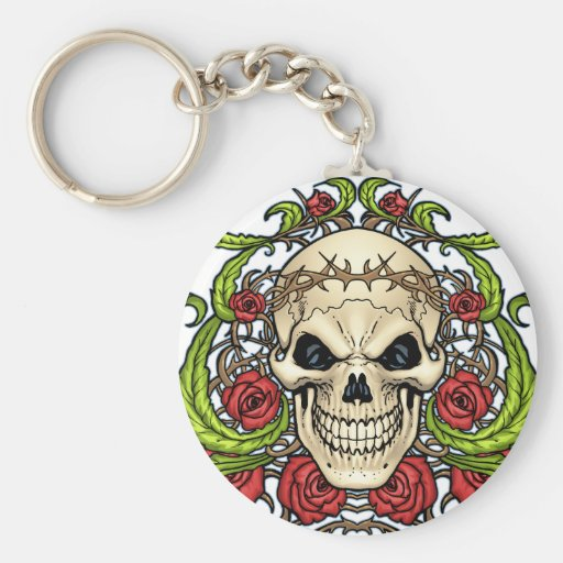 Skull and Roses with Crown Of Thorns by Al Rio Basic Round Button Keychain