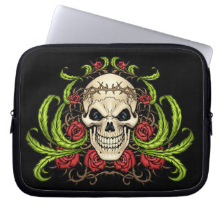 Skull and Roses with Crown Of Thorns by Al Rio Laptop Computer Sleeves