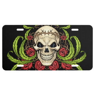 Skull and Roses with Crown Of Thorns by Al Rio License Plate