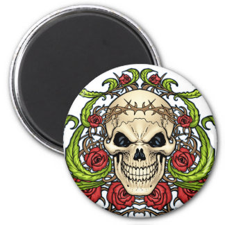 Skull and Roses with Crown Of Thorns by Al Rio Refrigerator Magnet