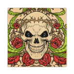 Skull and Roses with Crown Of Thorns by Al Rio Maple Wood Coaster