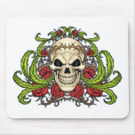 Skull and Roses with Crown Of Thorns by Al Rio Mousepads