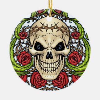 Skull and Roses with Crown Of Thorns by Al Rio Ornaments