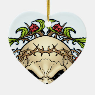 Skull and Roses with Crown Of Thorns by Al Rio Christmas Tree Ornament