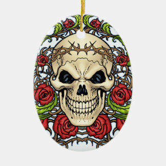 Skull and Roses with Crown Of Thorns by Al Rio Christmas Tree Ornaments
