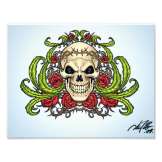 Skull and Roses with Crown Of Thorns by Al Rio Photographic Print