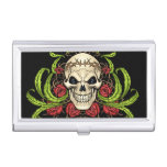 Skull and Roses with Crown Of Thorns by Al Rio Business Card Case