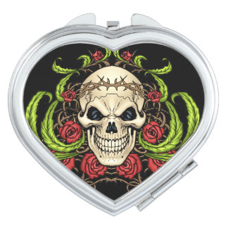 Skull and Roses with Crown Of Thorns by Al Rio Travel Mirrors