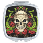 Skull and Roses with Crown Of Thorns by Al Rio Vanity Mirror
