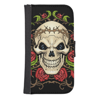Skull and Roses with Crown Of Thorns by Al Rio Phone Wallet Case