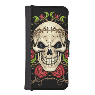 Skull and Roses with Crown Of Thorns by Al Rio iPhone 5 Wallet