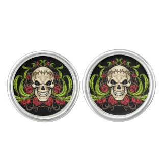 Skull and Roses with Crown Of Thorns by Al Rio Cufflinks