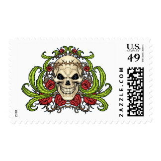 Skull and Roses with Crown Of Thorns by Al Rio Postage Stamp