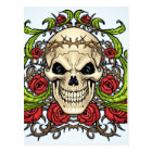 Skull and Roses with Crown Of Thorns by Al Rio Postcard