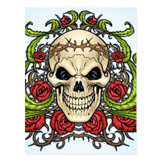 Skull and Roses with Crown Of Thorns by Al Rio Post Cards