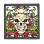 Skull and Roses with Crown Of Thorns by Al Rio Premium Gift Boxes