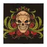Skull and Roses with Crown Of Thorns by Al Rio Drink Coaster