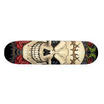 skull, skulls, rose, roses, thorn, thorns, red, green, symmetrical, design, art, rio, skateboard, marvel, demons, Skateboard with custom graphic design