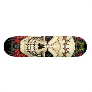 Skull and Roses with Crown Of Thorns by Al Rio Skateboard