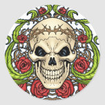 Skull and Roses with Crown Of Thorns by Al Rio Round Stickers