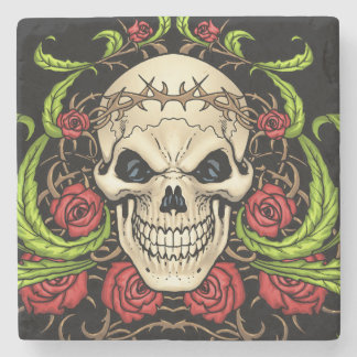 Skull and Roses with Crown Of Thorns by Al Rio Stone Coaster