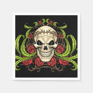 Skull and Roses with Crown Of Thorns by Al Rio Paper Napkins