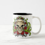 Skull and Roses with Crown Of Thorns by Al Rio Two-Tone Coffee Mug