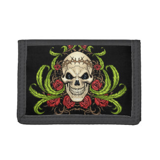 Skull and Roses with Crown Of Thorns by Al Rio Tri-fold Wallets