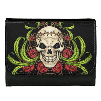 Skull and Roses with Crown Of Thorns by Al Rio Wallet