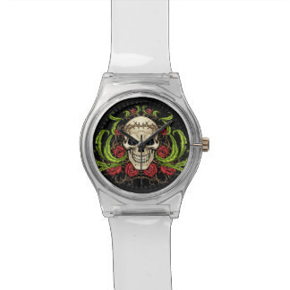Skull and Roses with Crown Of Thorns by Al Rio Wrist Watch