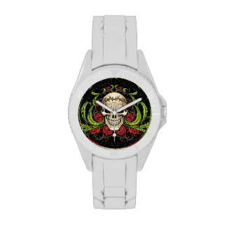 Skull and Roses with Crown Of Thorns by Al Rio Watch
