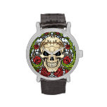 Skull and Roses with Crown Of Thorns by Al Rio Wrist Watches
