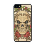 Skull and Roses with Crown Of Thorns by Al Rio Wood Phone Case For iPhone SE/5/5s