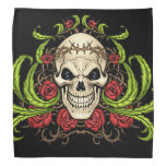 Skull and Roses with Crown Of Thorns by Al Rio Kerchief