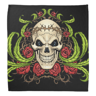 Skull and Roses with Crown Of Thorns by Al Rio Bandana