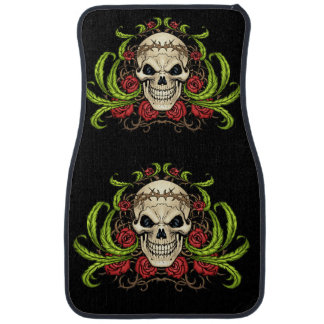 Skull and Roses with Crown Of Thorns by Al Rio Car Mat