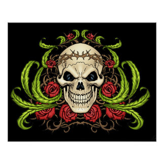 Skull and Roses with Crown Of Thorns by Al Rio Perfect Poster