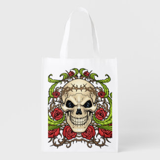 Skull and Roses with Crown Of Thorns by Al Rio Market Tote