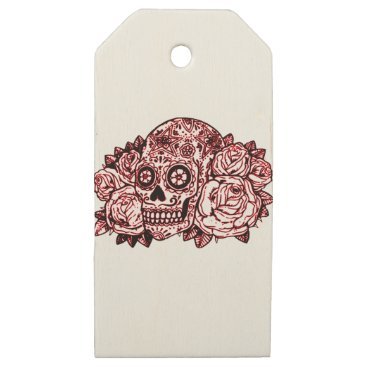 Halloween Themed Skull and Roses Wooden Gift Tags