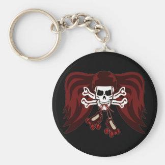 skull and skates basic round button keychain