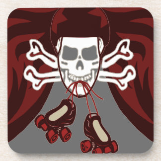skull and skates beverage coaster