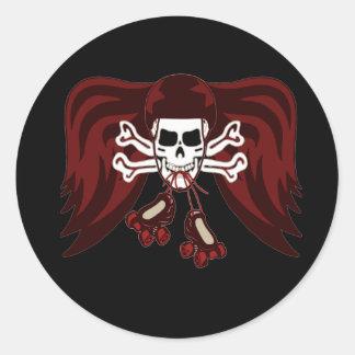 skull and skates classic round sticker